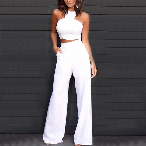 Elegant Pure Colour Off-Shoulder Metal Zipper Jumpsuit