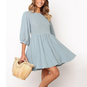 Casual Loose Round Collar Pleated Hemline Pure Color Mini Dresses