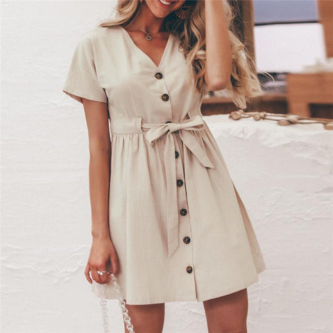 Fashion V Collar Plain Short Sleeves Casual Mini Dress