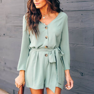 V-Neck Button Down Playsuit Mini dress