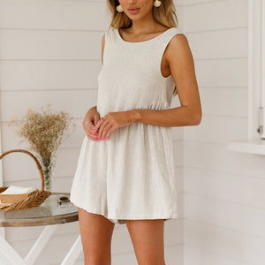 V-Neck Halter Cotton And Linen Shorts Jumpsuit