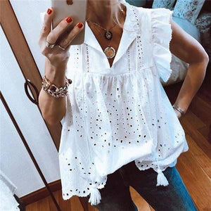 Fashion V Neck Lotus Leaf Sleeve Bud Shirt