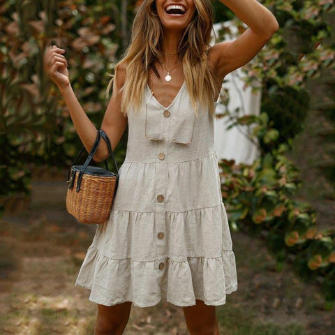 Casual Solid Color V-Neck Button Linen Stitching Sleeveless Mini Dress
