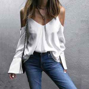 Fashion V-Neck Pure Color Off The Shoulder Shirt