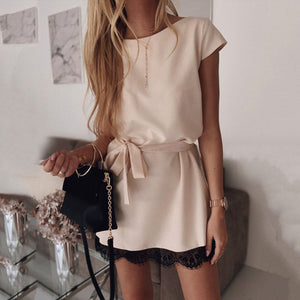 Short Sleeve Loose Round Neck Solid Color Lace Mini Dress