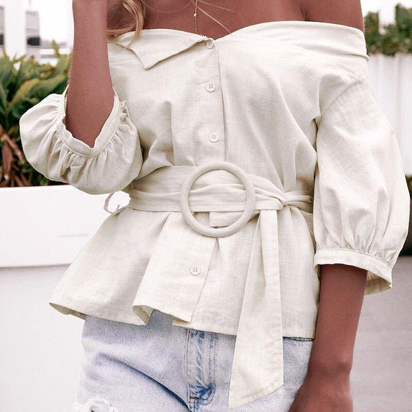 Off-The-Shoulder Waist Tie Lantern Sleeves Solid Color Blouse