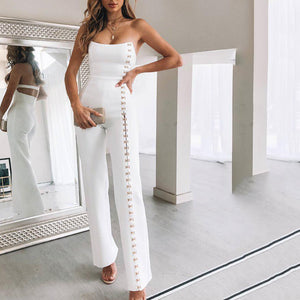 Fashion Sexy Tube Top Cross Straps Decorated Jumpsuit