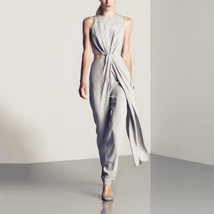 Women's Elegant Simple Solid Sleeveless Jumpsuit