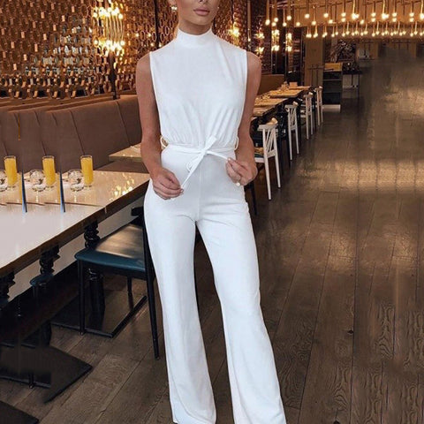 Elegant Simple Solid Color High Collar Sleeveless Jumpsuit