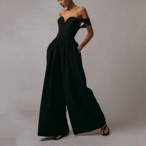 Modern Design Pure Colour  High-Waist Jumpsuit