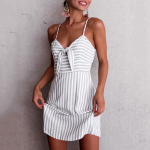 Fashion Stripe Sleeveless Mini Dress