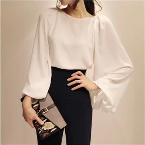 Casual Lantern Sleeve Pure Color Chiffon Blouse