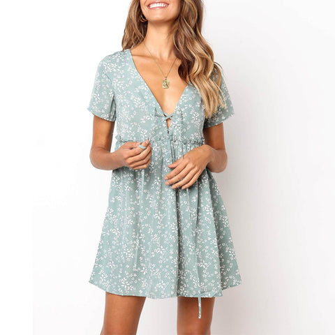 Vacation Floral Printed V-Neck Short Sleeve Flounce Mini Dress