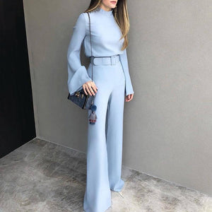 Fashion Pure Colour Half High Collar Blue Jumpsuit