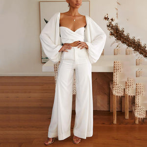 Square Collar Open Back Design Loose Jumpsuit