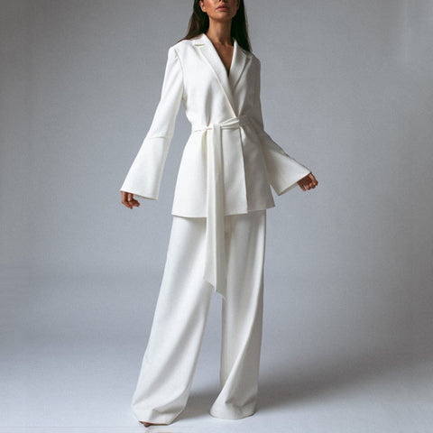 Casual V Neck Long Sleeve Pure Colour Jumpsuit Suit