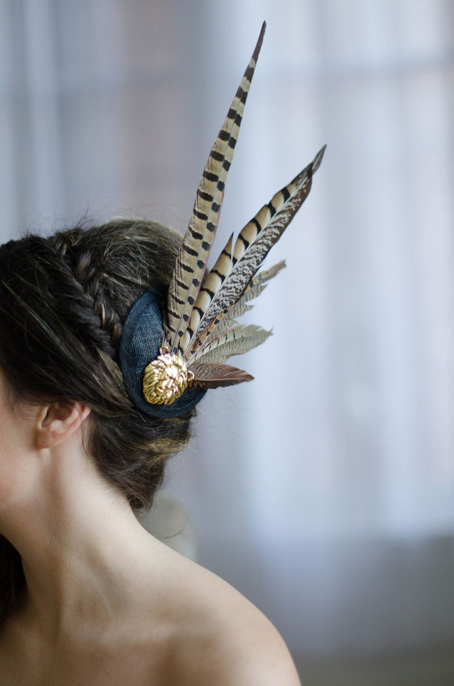 Exotic Pheasant Feather Cocktail Hat - Style #402