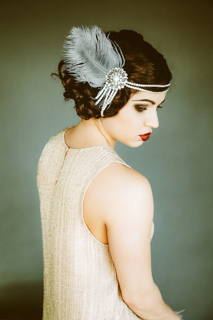 Crystal Flapper Headband in Gray & Silver - Style #103