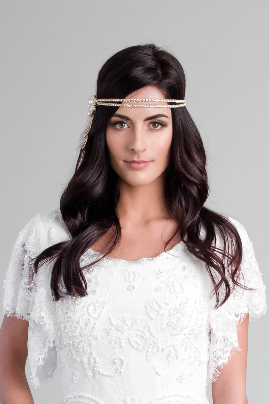 Gold and Pearl Cluster Flapper Headband - Style #110