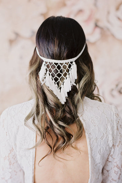 Danani Style #215 | Pretty bride with long loose curls hairstyle wearing dreamcatcher fringe halo headpiece with tassels and macrame. If you're wanting to add some vintage victorian renaissance flair to your bridal look this is the hairpiece. | Loblee Photography