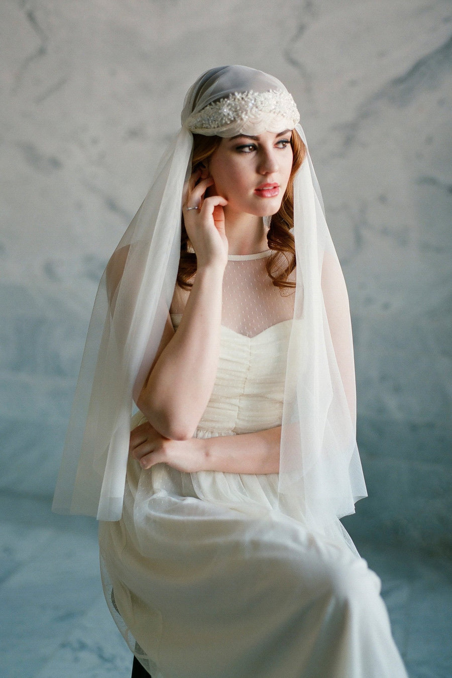 Beaded Scallop Juliet Veil Bridal Cap - Style #304