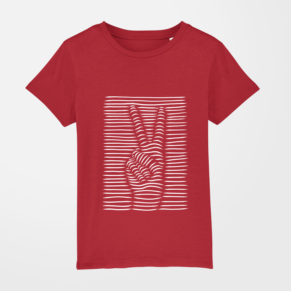 t shirt fille peace rouge
