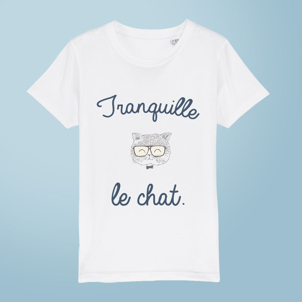 t-shirt - Tranquille le chat - fille - blanc