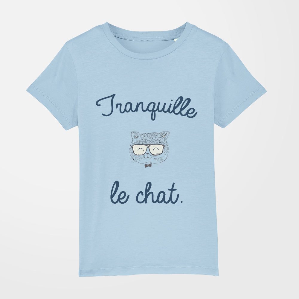 t-shirt - Tranquille le chat - fille - bleu ciel