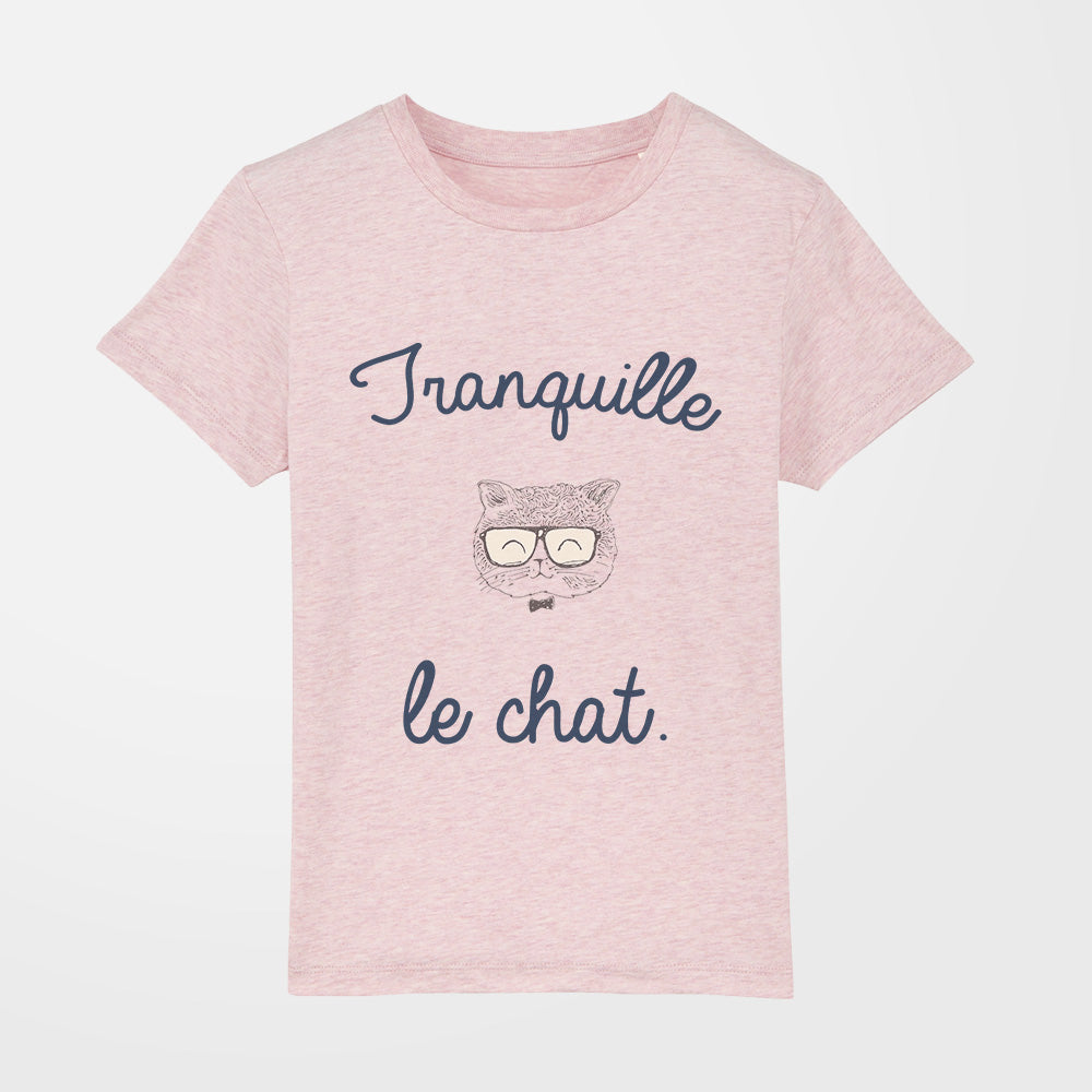 t-shirt - Tranquille le chat - fille - rose chiné