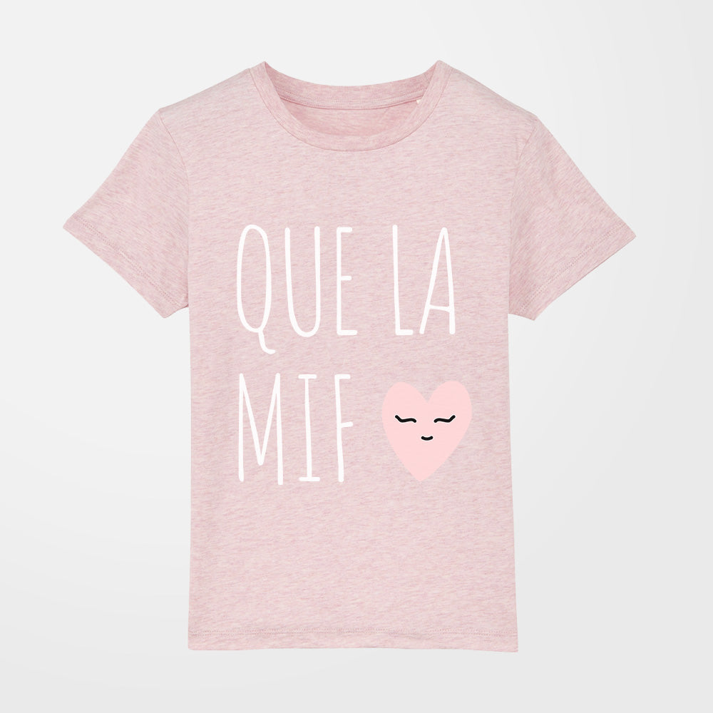 t-shirt - Que la mif - fille - rose chiné