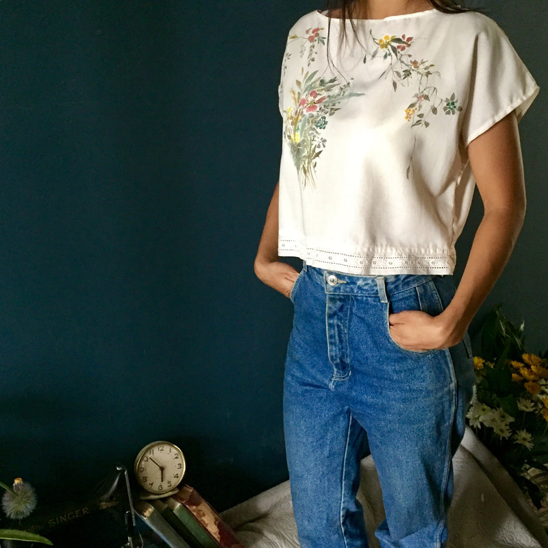 Women's Blouse | Lace Trim Hand-Painted Wild Flowers