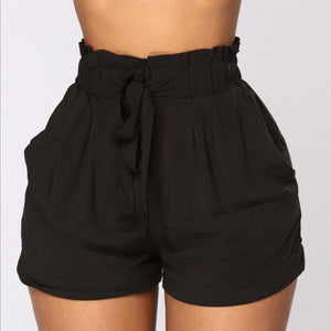 Womens High waist Shorts Elastic Waist Belt