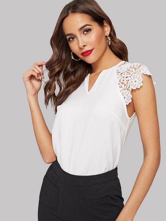 V Cut Neck Guipure Lace Raglan Sleeve Blouse