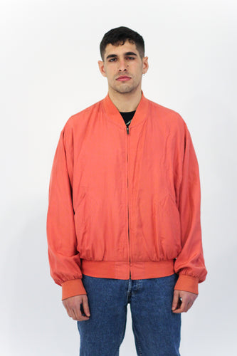 Coral Silky Bomber Jacket in Size Medium