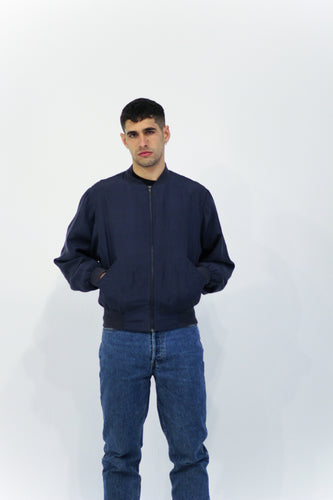 Navy Silky Bomber Jacket in Size Medium/ Large