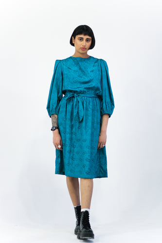 Teal Jacquard Midi Dress in Size 12
