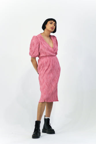 Pink Ribbed Midi Dress in Size 12