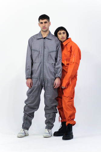 Grey Zip Through Boiler Suit Overalls