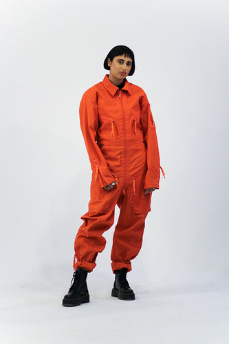 Orange Zip Through Boiler Suit Overalls