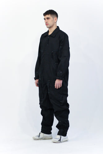 Black Zip Through Boiler Suit Overalls