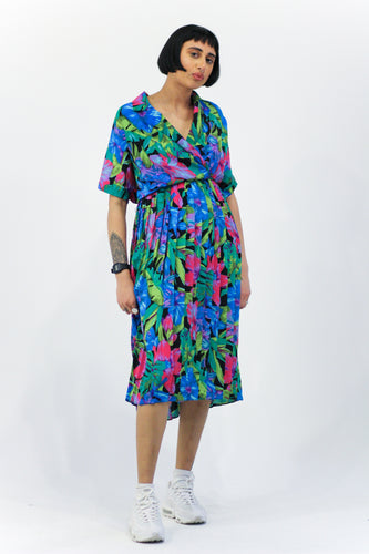 Bright Floral Midi Dress in Size 16
