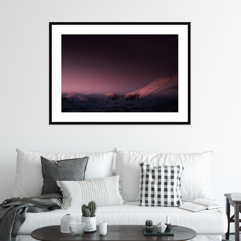 Mountain Range in Red Winter Light | Wall Art Print by Jan Erik Waider