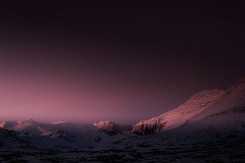 Mountain Range in Red Winter Light