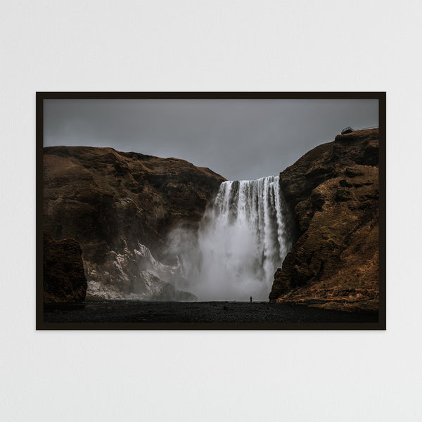 Dark Sky over Skógafoss Waterfall | Photography Print by Northlandscapes
