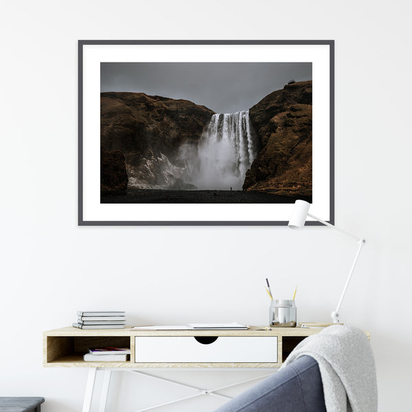 Dark Sky over Skógafoss Waterfall | Wall Art Print by Jan Erik Waider