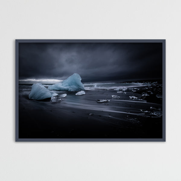 Icebergs on Black Sand Beach of Jökulsárlón Glacier Lagoon in Iceland | Photography Print by Northlandscapes