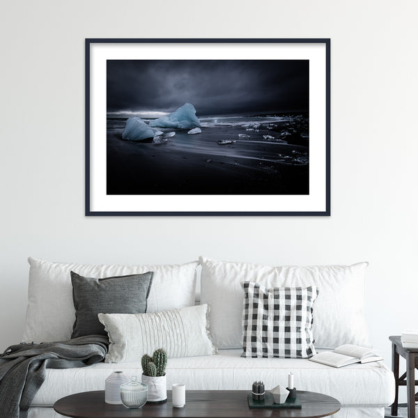 Icebergs on Black Sand Beach of Jökulsárlón Glacier Lagoon in Iceland | Wall Art Print by Jan Erik Waider