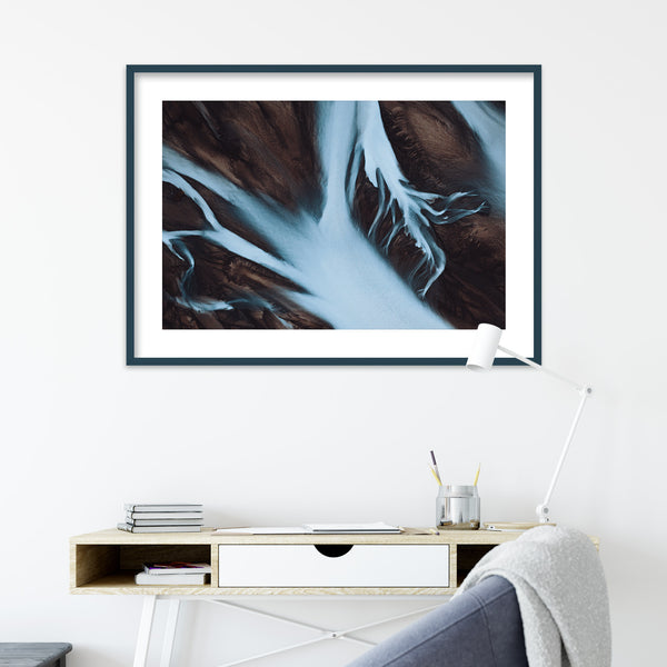Abstract Aerial View of Glacial Rivers in Iceland | Wall Art Print by Jan Erik Waider