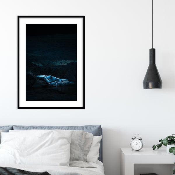 Abstract Glacier Illuminated by Drone LED Lights | Wall Art Print by Jan Erik Waider