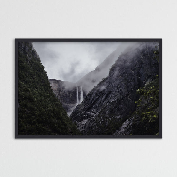 Dramatic Weather over Waterfall | Photography Print by Northlandscapes